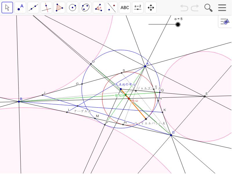 九点円は傍接円と内接円の両方に接しています。