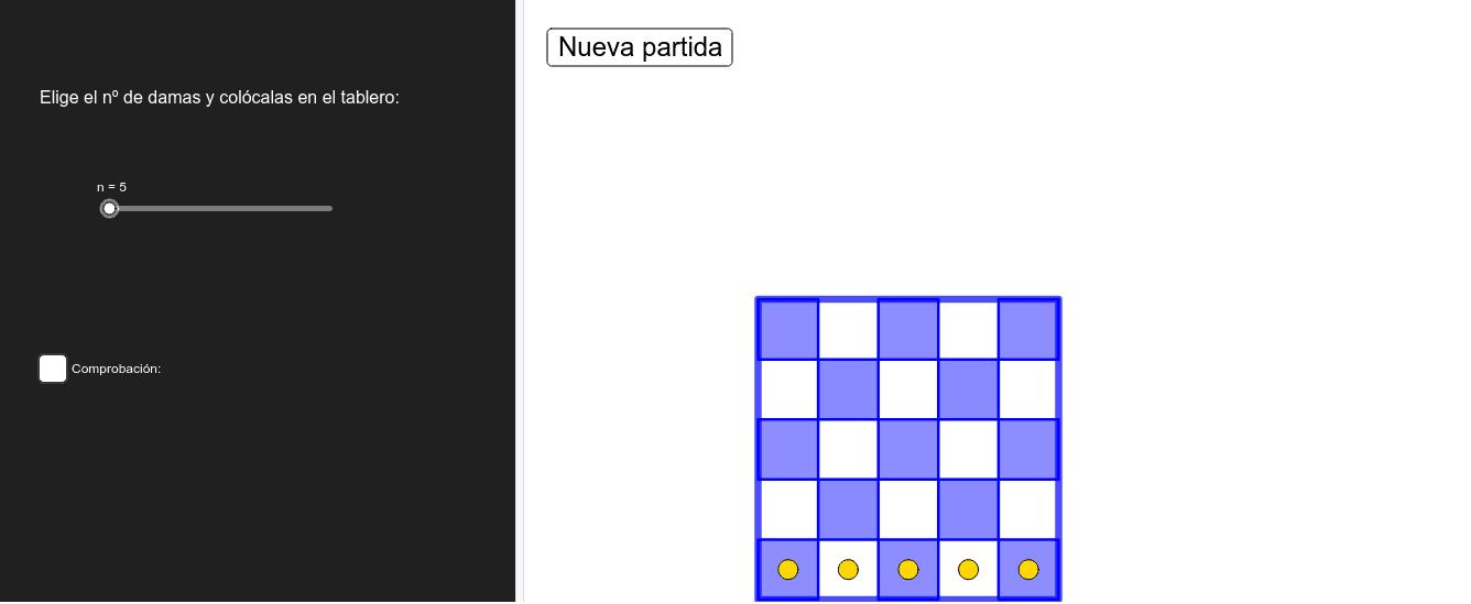 Con esta construcción podrás jugar a colocar N damas en un tablero de ajedrez NxN sin que se amenacen entre ellas. Presiona Intro para comenzar la actividad