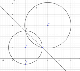 Equation of the 2 intersection points between 2 circles