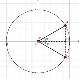 Data una misura [math]\large{\textcolor{blue}{\overline{OH}}}[/math] per il coseno dell'angolo ([color=#0000ff][b]coordinata [/b][/color][math]\large{x}[/math][color=#0000ff][b], cioè spostamento orizzontale[/b][/color]), otteniamo due possibili angoli: [math]\large{\alpha}[/math] che è rivolto verso l'alto e quindi ha seno positivo ed [math]\large{\alpha '}[/math] che è verso il basso ed ha seno negativo.   Si vede facilmente che i due triangoli [math]\large{OHA}[/math] ed [math]\large{OHA'}[/math] sono congruenti, quindi la misura dei due seni [math]\large{\textcolor{red}{\overline{AH}}}[/math] ed [math]\large{\textcolor{red}{\overline{AH'}}}[/math] è la stessa; hanno però segno opposto perché il punto [math]\large{A}[/math] ha coordinata [math]\large{y}[/math] positiva e [math]\large{A'}[/math] ce l'ha negativa.  Per la stessa ragione i due angoli [math]\large{\alpha}[/math] ed [math]\large{\alpha '}[/math] sono congruenti, o più precisamente sono opposti - uno è misurato in senso antiorario ed è positivo e l'altro in senso orario ed è negativo. Due angoli hanno stesso coseno e seni opposti quando sono loro stessi opposti, cioè quando [math]\large{\alpha ' = -\alpha}[/math].