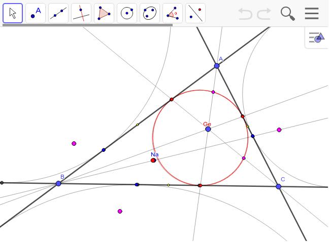 傍接円のジェルゴンヌ点とナーゲル点 青と赤は等距離共役。いろいろ動かしてみよう。 ワークシートを始めるにはEnter キーを押してください。