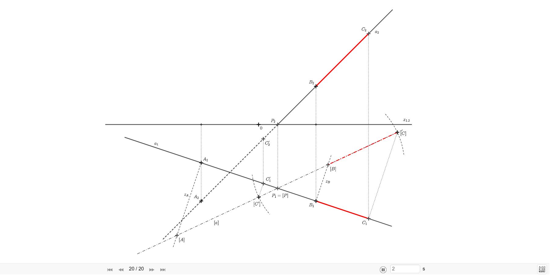 Na přímku a = AB naneste od bodu B v obou směrech úsečku 4cm. A=[-3; 2; -4], B=[3; 4; 2]. Zahajte aktivitu stisknutím klávesy Enter