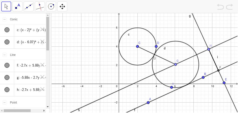 Circunferencia tangente a otra circunferencia y una recta