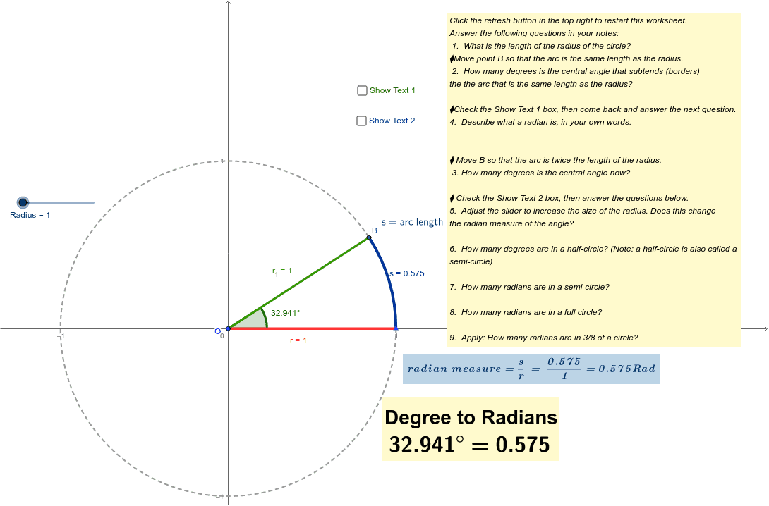 Definition of a Radian – GeoGebra