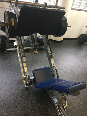 wider view of leg press machine