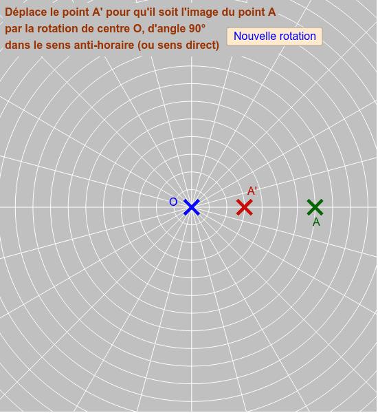 """Dans cet exercice, c'est le quadrillage qui permet de placer le point A' correctement. L'angle formé par deux demi-droites consécutives (d'origine O) est de 15°. Tous les cercles ont pour centre le point O. Cliquer sur le bouton """"Nouvelle rotation"""" pour o Tapez """"Entrée"""" pour démarrer l'activité"""