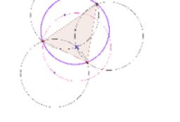 Tre circonferenze con raggio e punto in comune