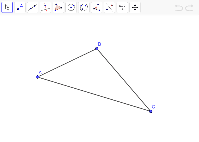Find the location of the point that is equidistant from each side of the triangle. Press Enter to start activity