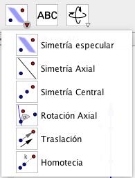 Para las simetrías y transformaciones GeoGebra pone a nuestra disposición un conjunto de herramientas, tanto para la vista 2D como la 3D. Su uso es sencillo y intuitivo como veremos.