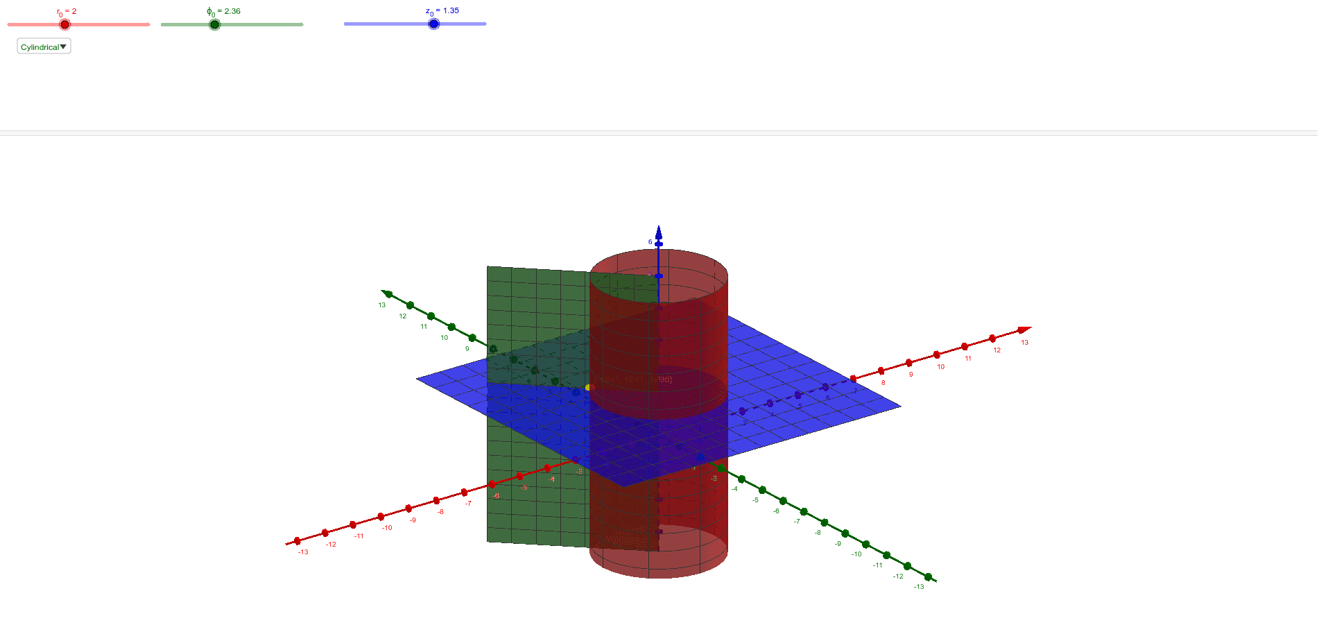 Constant surfaces in cartesian, cylindrical, and spherical coordinate systems
