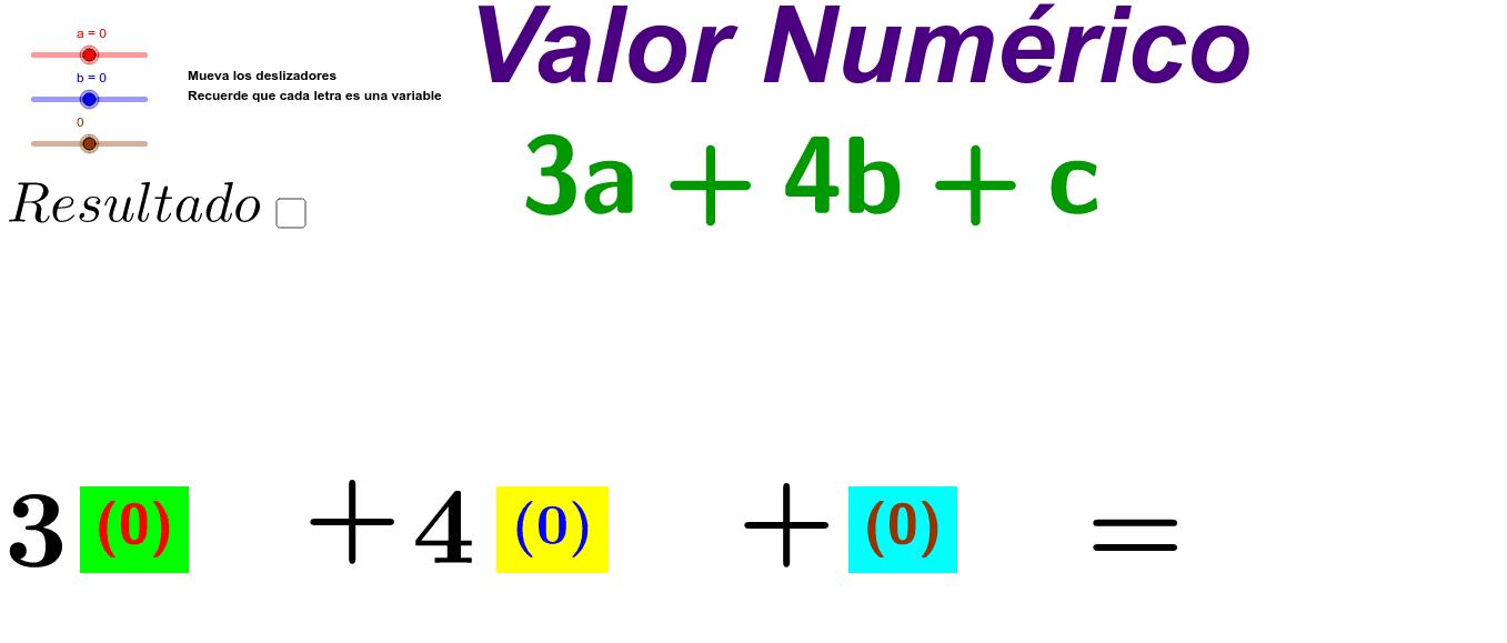 Mueva los deslizadores a, b y c. Verifique su resultado en la casilla de control. Presiona Intro para comenzar la actividad