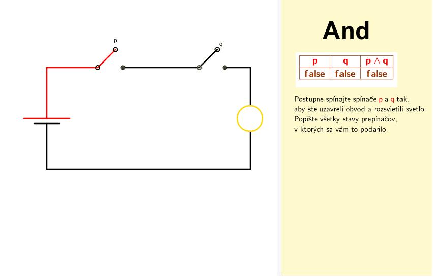 Prepojenie logických obvodov v elektrotechnike a výrokovej logiky v matematike.