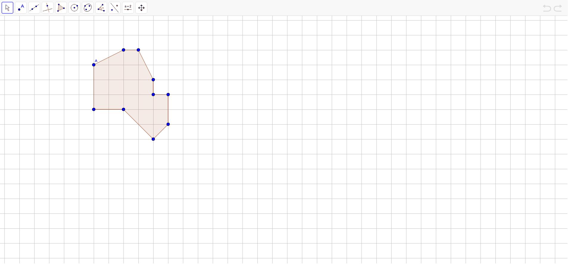 """Zarotirati nacrtan lik oko točke A u smjeru kazaljke na satu za 90 stupnjeva. Provjeriti točnost rješenja uz pomoć alata """"rotate around point""""."""
