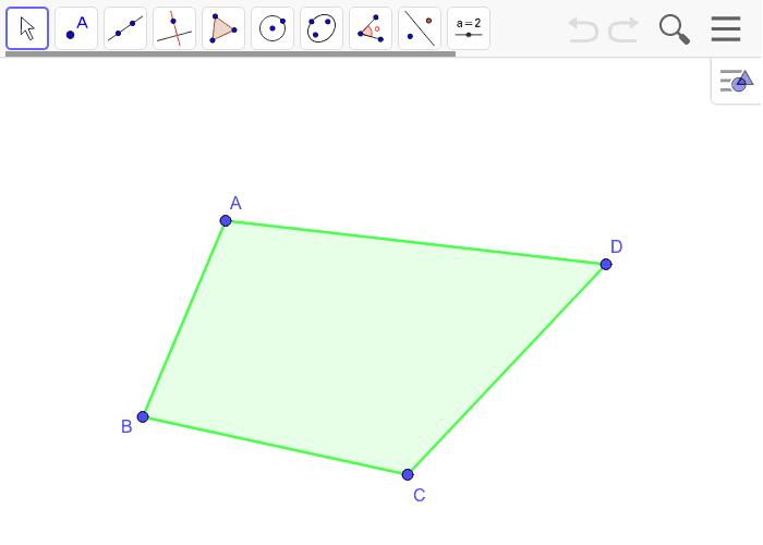 Construir los puntos medios E, F, G, H de los lados del cuadrilátero ABCD. Utilizando la herramienta polígono, construir el cuadrilátero EFGH, llamado cuadrilátero de Varignon. Arrastra los vértices de ABCD ¿Qué cuadrilátero es EFGH? Presiona Intro para comenzar la actividad
