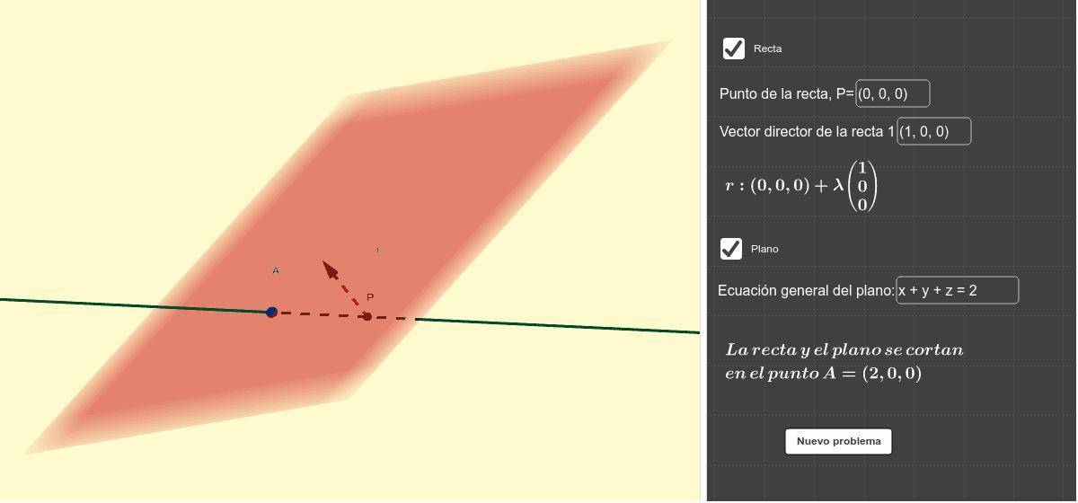 Introduce la recta mediante uno de sus puntos y un vector director y la ecuación general del plano. El applet te dará automáticamente la posición relativa