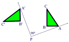 In this image, the triangle to the right is the pre-image, and the triangle to the left is the image. Point P is the center of rotation, and the angle of rotation is 90 degrees clockwise.