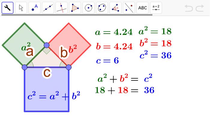 Interpretación geométrica del Teorema de Pitágoras Presiona Intro para comenzar la actividad
