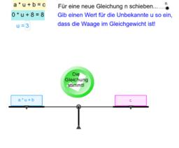 Lineare Gleichung a*x+b=c als Waage (im Gleichgewicht)