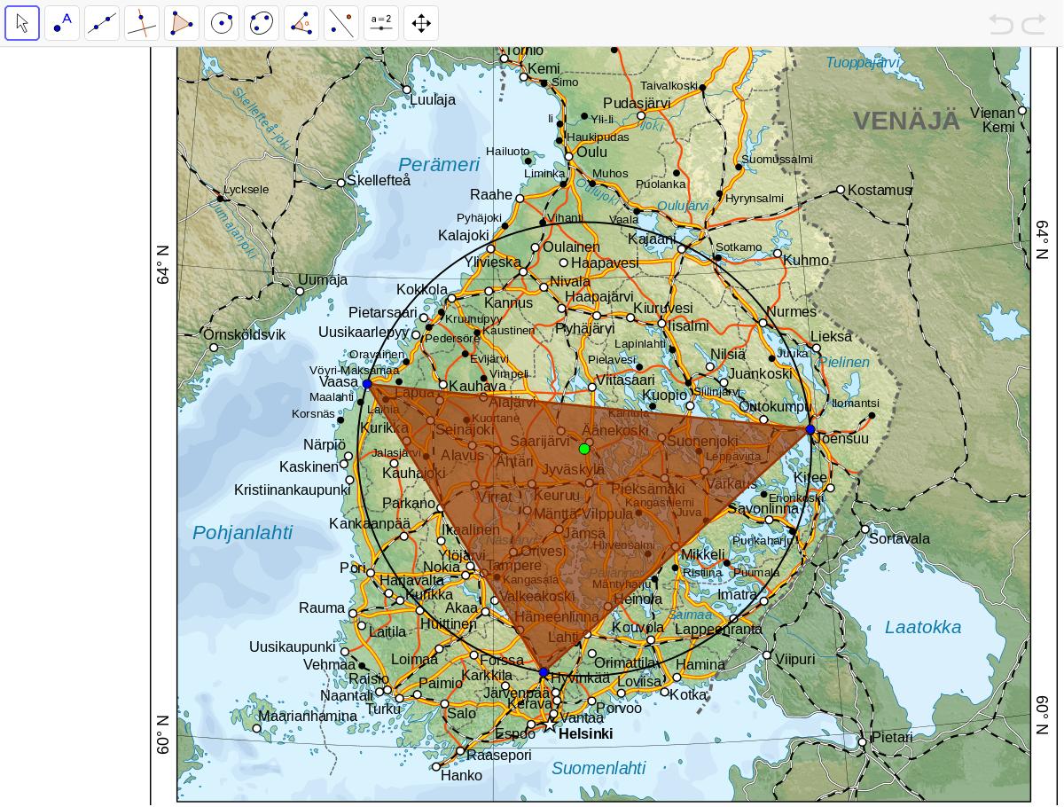 Kolme ystävystä asuvat eri puolilla Suomea: yksi asuu Vaasassa, toinen Joensuussa ja kolmas Hyvinkäällä. Ystävykset päättävät tavata sellaisessa paikassa, johon kaikilla olisi yhtä pitkä matka. Missä kaupungissa ystävysten kannattaa tavata?