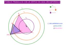 TRIÁNGULOS EQUILÁTEROS APOYADOS SOBRE TRES CIRCUNFERENCIAS