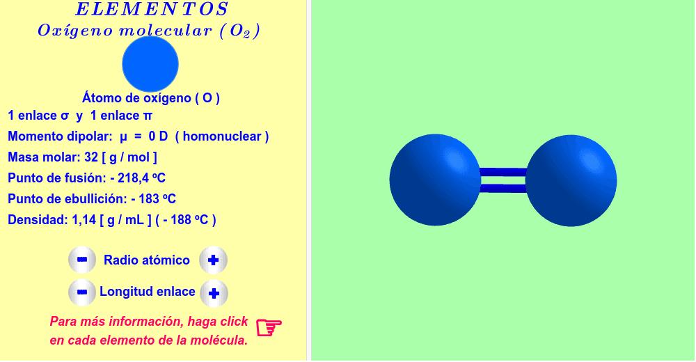 Oxígeno ( haga click en cada elemento de la molécula ).