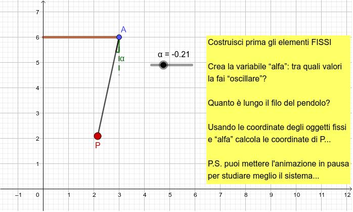 Le oscillazioni del pendolo in figura sono ampie 30°. Riesci a riprodurlo? Premi Invio per avviare l'attività