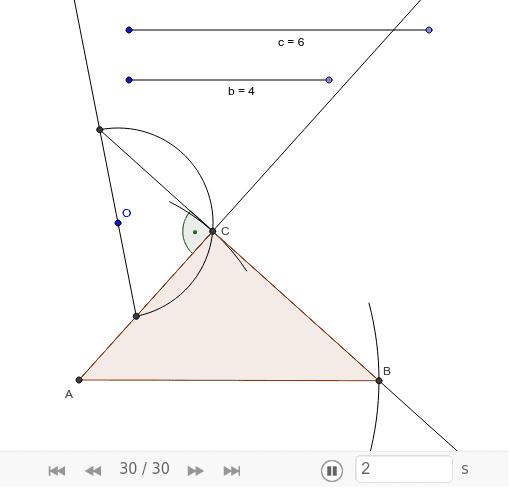 Конструиши правоугли троугао са правим углом у темену С ако је дужина хипотенузе 6cm, а катете 4cm.