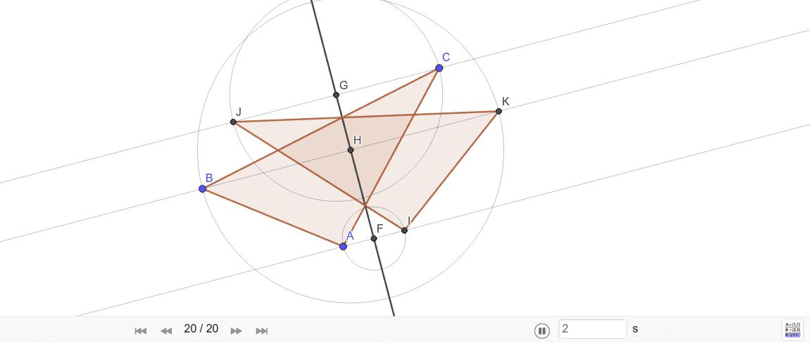obraz trójkąta symetrycznego względem prostej. Naciśnij klawisz Enter, aby rozpocząć aktywność