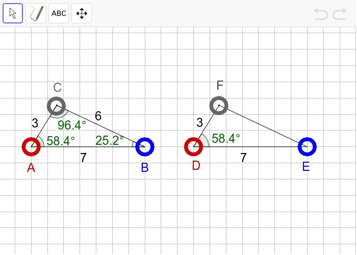 """과제1 다음 두 삼각형이 """"확대 또는 축소하여 합동(닮음)""""인지 판단하고, 그 이유를 설명하시오. 활동을 시작하려면 엔터키를 누르세요."""