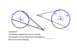 Circle with two secants or one secant/one tangent