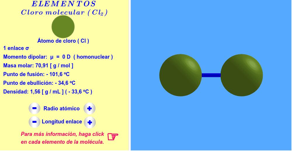 Cloro ( haga click en cada elemento de la molécula ).