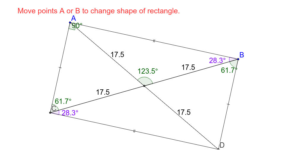 This is a rectangle because each angle is 90 degrees. Drag points A and B. What are other observations you can make?  Press Enter to start activity