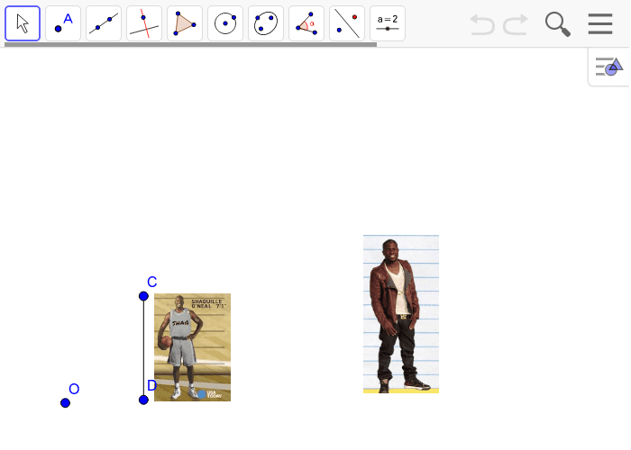In the problem below, Kevin Hart is standing next to a poster of Shaquille O'neal.  Use center O to create a scale drawing of segment CD with a scale factor of r = 2.5
