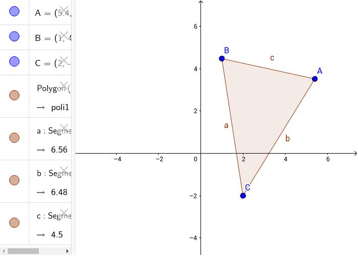 Muovi i vertici del triangolo e vedi come variano le distanze tra i punti e dunque il perimetro del triangolo.