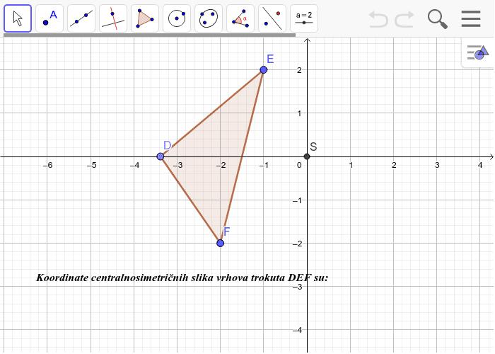 6.Preslikaj  centralnosimetrično trokut DEF  preko ishodišta  S te napiši koordinate slika(objašnjavam u videu kako) Pritisnite Enter kako bi pokrenuli aktivnost