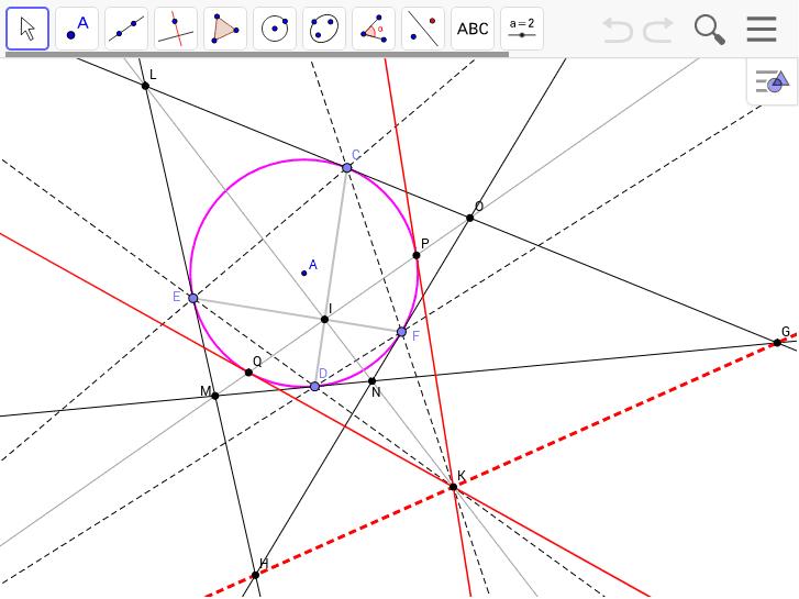 外接四角形と接点の作る内接四角形の極線が一致することの証明 ワークシートを始めるにはEnter キーを押してください。