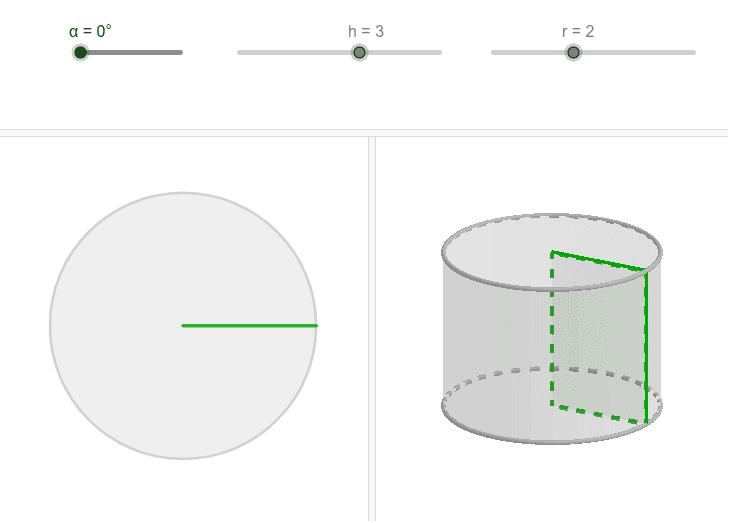 Crea unha construción na que se comprobe que o cilindro é corpo de revolución xerado por un rectángulo que xira arredor dos seus lados. Presiona Intro para comezar a actividade