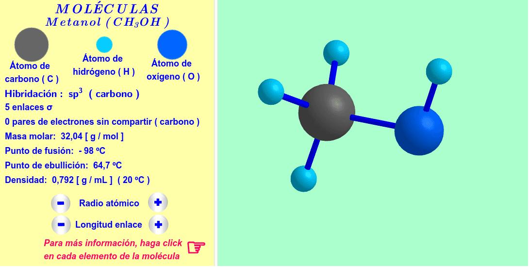 Un ejemplo de alcohol: metanol ( haga click en cada elemento de la molécula ).
