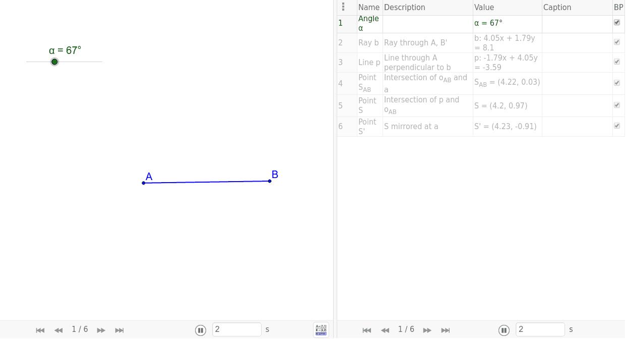 Konstrukce množiny bodů, ze kterých je úsečka AB vidět pod daným úhlem  Zahajte aktivitu stisknutím klávesy Enter