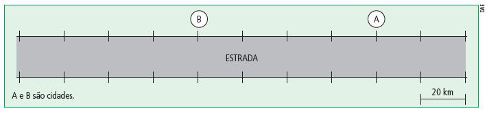 Exemplo 2: No trecho de estrada retilínea ilustrado abaixo, onde A e B são cidades e cada traço na estrada possui 20 km de distância um do outro, há um posto de gasolina. Porém, a figura não traz informações para localizá-lo.