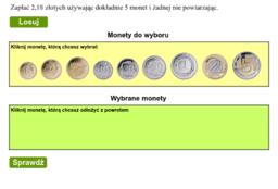 5  niepowtarzających się monet