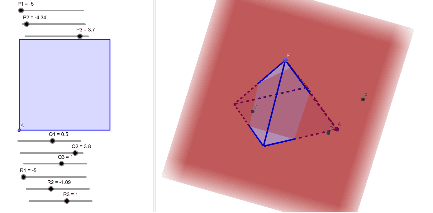 Plane PQR.  Move Points P,Q,R.  Rotate 3D to Observe intersection.