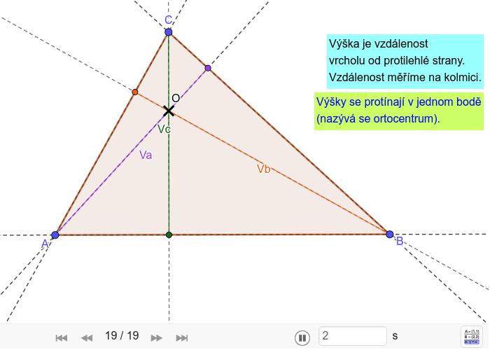 Konstrukce výšek trojúhelníku Zahajte aktivitu stisknutím klávesy Enter