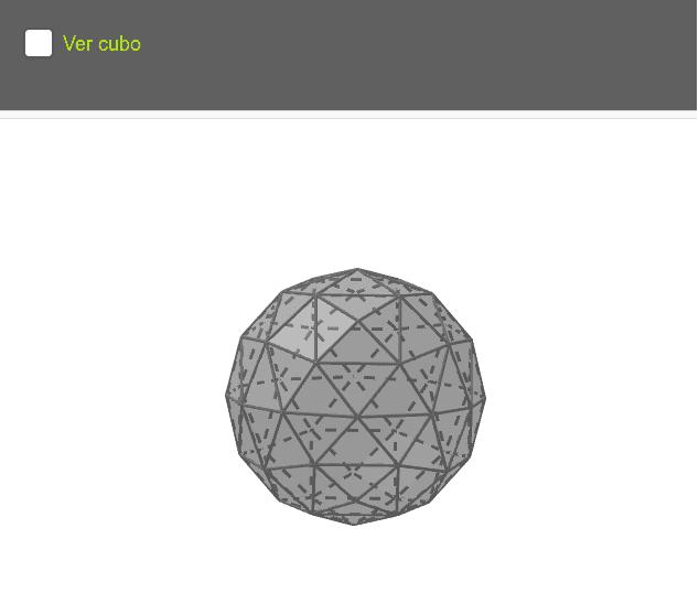 Esfera geodésica 2V construida a partir de un hexaedro Press Enter to start activity