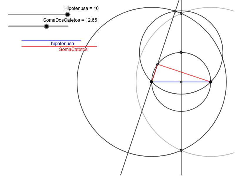 Construir com régua e compasso um triangulo retângulo conhecendo a hipotenusa e a soma dos catetos