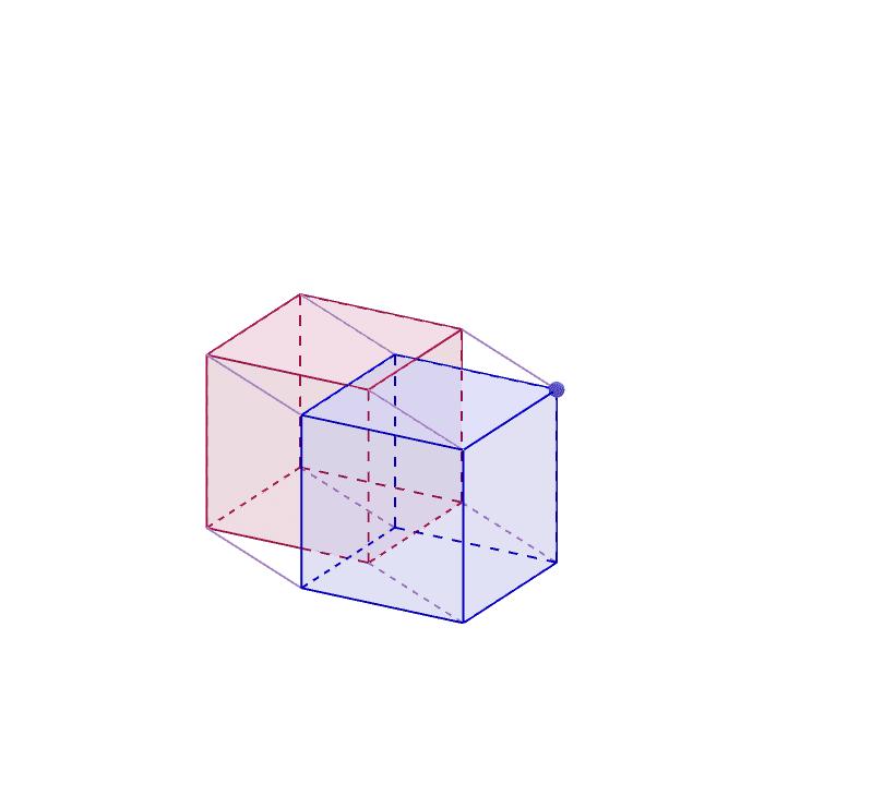Tesserakti syntyy, kun kuutiota siirretään neljännen ulottuvuuden suuntaan. Voit kääntää siirtosuuntaa mustasta pisteesstä. Paina Enter aloittaaksesi
