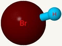 Imagen de una molécula de bromuro de hidrógeno.