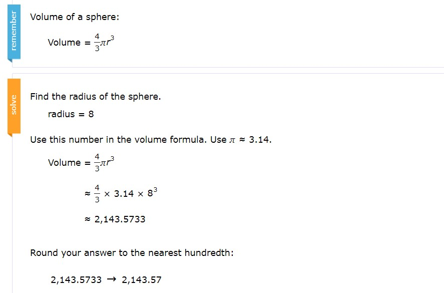 Example #2. The radius is 8 and they used 3.14 for pi.