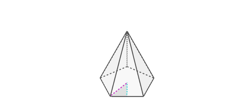 """Le demi-côté de la base, l'apothème de la base et le «rayon» de la base Tapez """"Entrée"""" pour démarrer l'activité"""