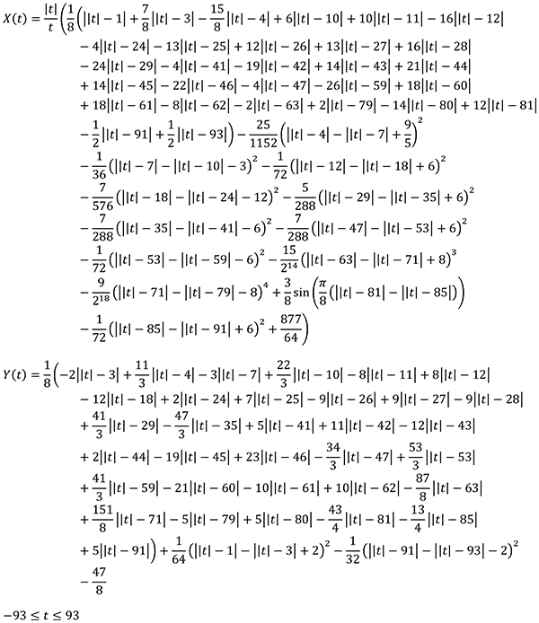 Spiderman curve - single, non-piecewise, X(t) and Y(t) pair of equations